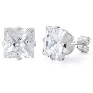Jewelry - Sterling Silver Princess Cut 8mm CZ Studs